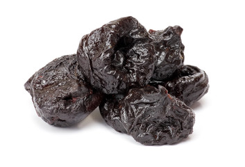Dried plum - prunes, isolated on a white background.