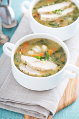 Chicken gnocchi soup with vegetables