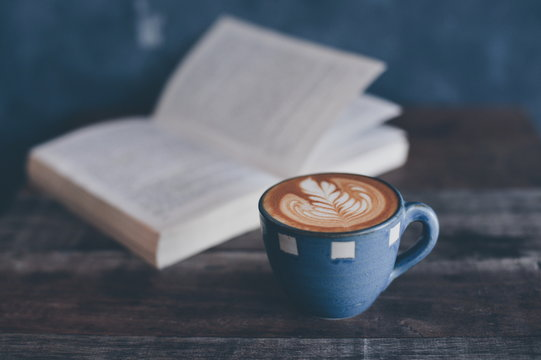 coffee latte and book