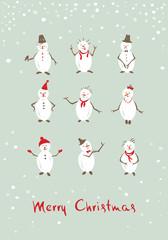 Christmas background, postcard -- funny snowman