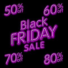 Black Friday Sale 50% 60% 70% 80% retro light frame. Vector illustration neon