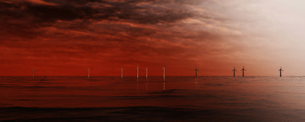 3d illustration of wind turbines standing in rough water on the horizon.