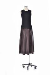 Full length female clothing on display-gray background