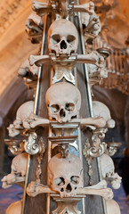 Sculls and bones lantern in Sedlec Ossuary