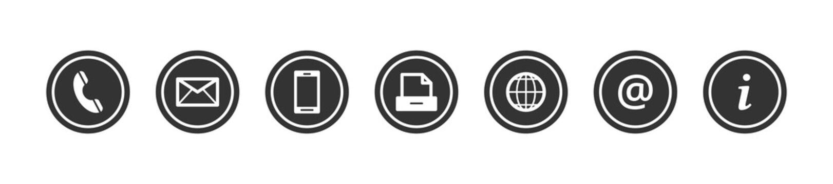 Contact us - set of dark grey buttons