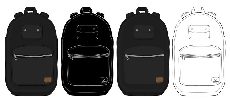 Black urban backpack set
