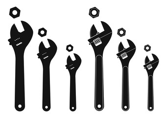 Set of mechanical wrenches with nuts. Silhouettes