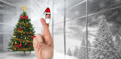 Composite image of christmas fingers