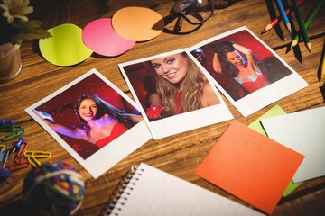 Office supplies with blank instant photos