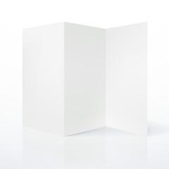 Blank white folded paper leaflet