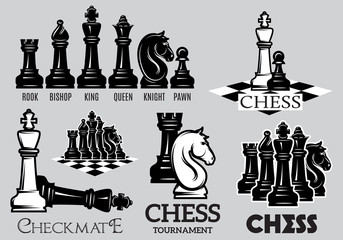 Set emblems and signs for the chess tournament