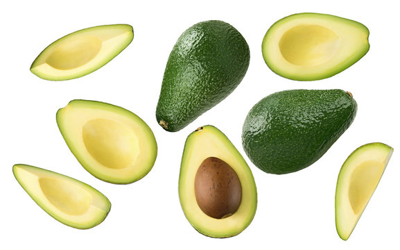 Avocado pieces set isolated on white background
