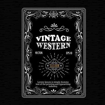 Vintage frame border western label hand drawn retro engraving an
