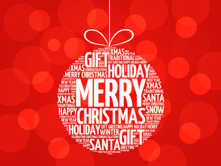 MERRY CHRISTMAS, Christmas ball word cloud, holidays lettering collage