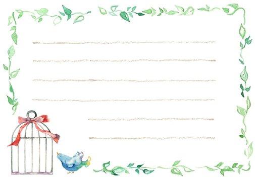 カード、青い鳥、横、線有り