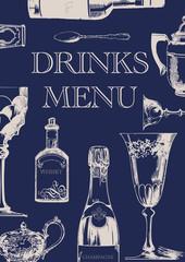 Elegant Vintage DRINKS MENU - dark blue