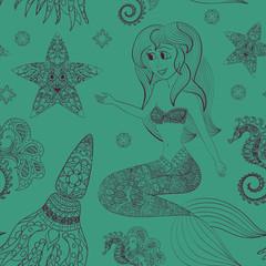 Hand drawn Ornamental Mermaid, sea-horse and calmar.  Fairy-tale