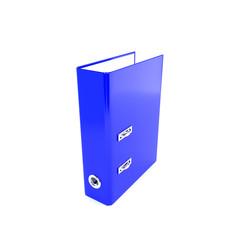 Blue office folders on a white background. 3D illustration, rend