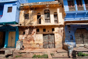 Rustic walls of abandoned houses in India
