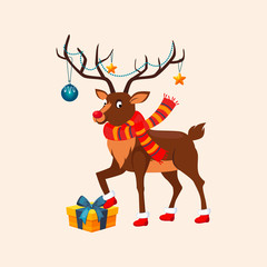 Deer with a Christmas Garland on the Horns. Vector Illustration
