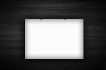 Big blank billboard poster template hanging on a rope