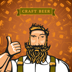 Bearded barmen on the backgrounds with beers elements.
