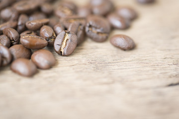 Coffee beans on the wooden top