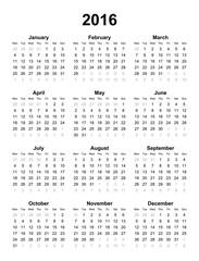 2016 calendar. Vector art.