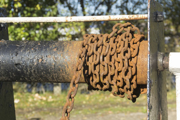 Rusty chain on canal lock gear