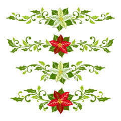 Christmas dividers from poinsettia and holly leaves decoration elements.