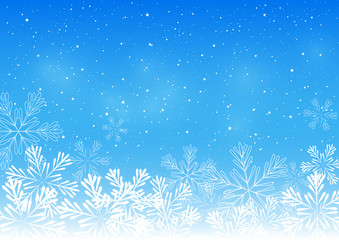 Christmas snowflakes on blue background