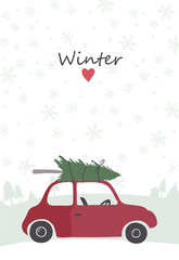 illustration of retro red car with tree on the top