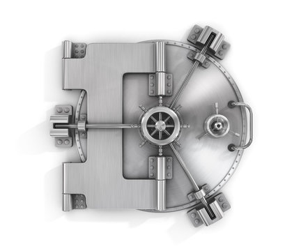 The metallic bank vault door on a white background isolated on w