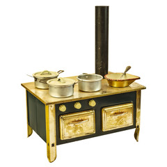 Retro doll house cooking stove isolated on white