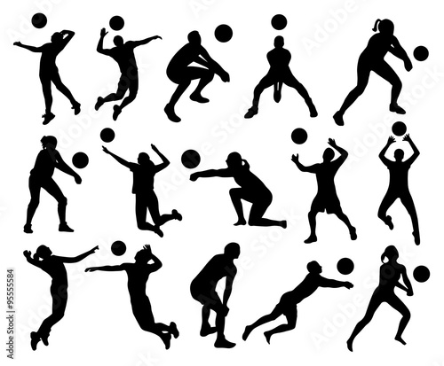 """""""Volleyball Silhouettes"""" Stock Image And Royalty-free"""