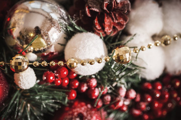 Christmas Decoration with Snow Over Wooden Background