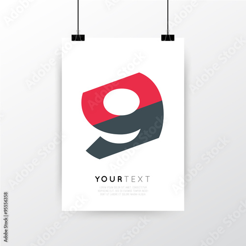 A4 / A3 Format Poster Minimal Abstract Number 9 Design With Your