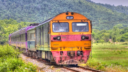 Overnight train was passing through field in northern Thailand 2013.