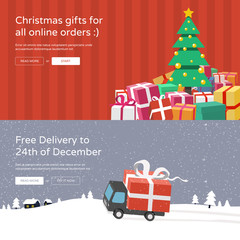 Online shopping website banners  - Christmas tree with christmas gifts & Free delivery service.