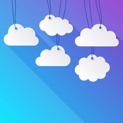 Foto op Plexiglas Hemel Hanging paper clouds