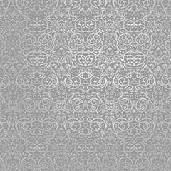 Wallpaper Silver Batik Floral and Swirl Ornament
