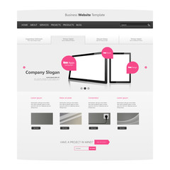 Modern Clean Business Website Template Design, Editable Vector Illustration.