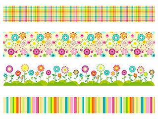 Set of seamless flower patterns and colorful geometric borders. Cartoon horizontal textures isolated on white. Vector illustration.