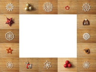 Wooden frame composed of christmas decoration pictures. Space for text inside of the frame.
