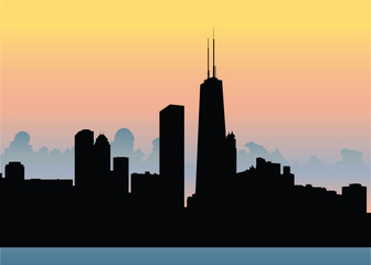 Skyline silhouette of the waterfront of the city of Chicago, Illinois, USA.