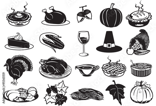 black and white thanksgiving icons stock image and royalty free