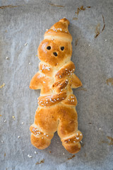 Traditional man-shaped bread baked for St Nicholas day in german-speaking countries
