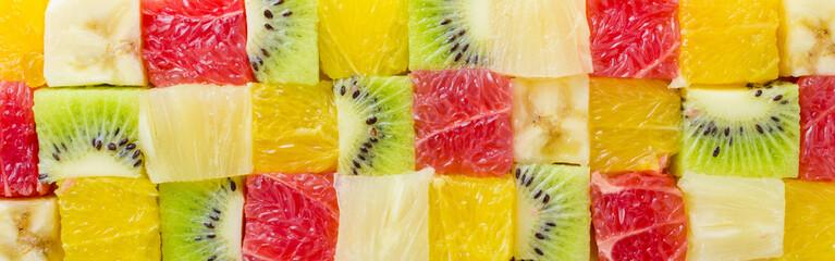 Cube shaped fruits background
