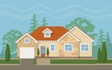 Traditional suburban house with the environment (sky,trees, lawn). Vector flat illustration.
