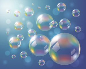 Soap Bubbles Background. Eps10 vector file, contains transparent objects.